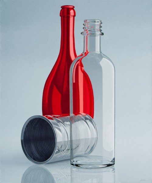 Composition with big red bottle