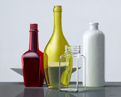 Composition with red bottle