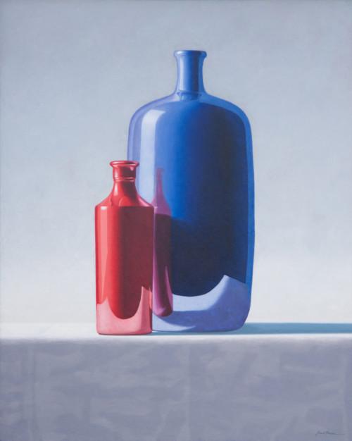 Compositie met rode en blauwe kruik