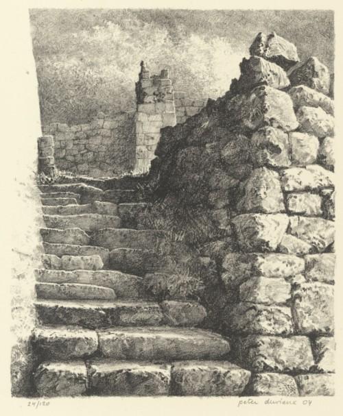 Boek  met Lithografie 'Trap bij Roumégoux'