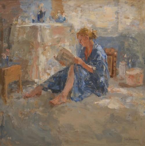 Maja in blauwe kimono, lezen