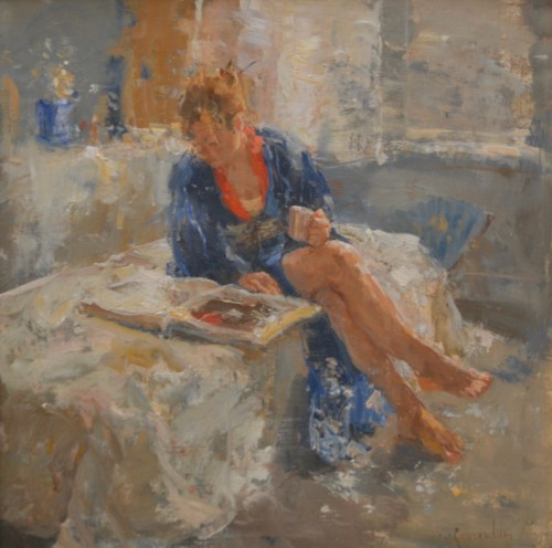 Maja in blauwe kimono
