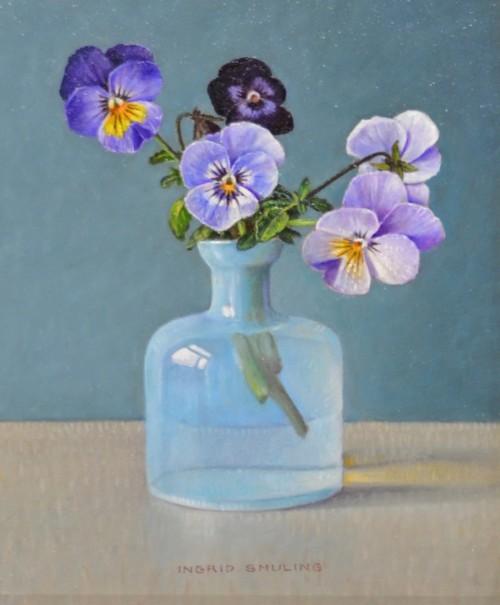 Viooltjes in opaal blauw flesje