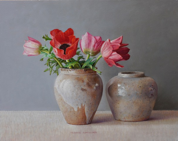 galerie bonnard ingrid-smuling-rode-anemonen-in-peperpot-2019-22-x-28-cm