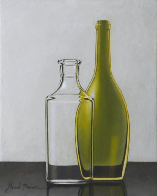 Compositie groene en transparante fles