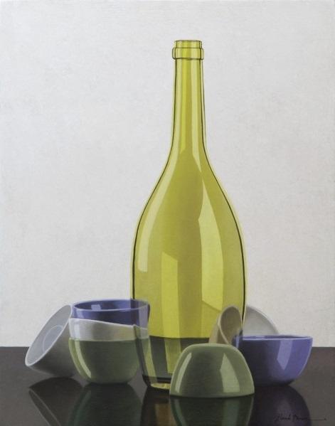 Compositie fles met kommetjes