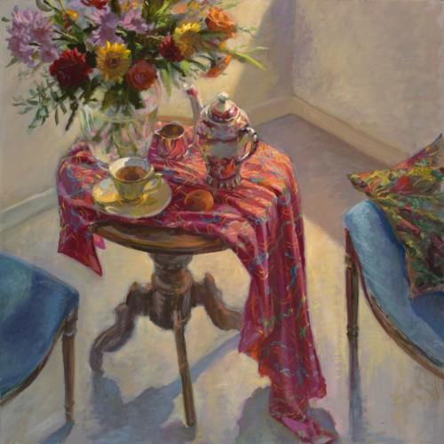 Thee met bloemen