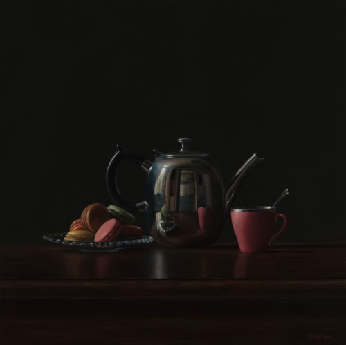 Koffiepot met macrons
