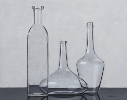 Compositie drie transparante flessen
