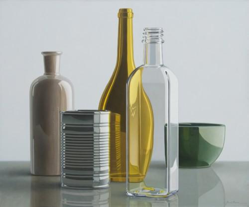 Compositie met olijfoliefles