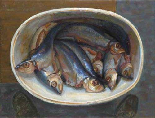 Emmertje haring op de hoek van de tafel, op het midden van het schilderij