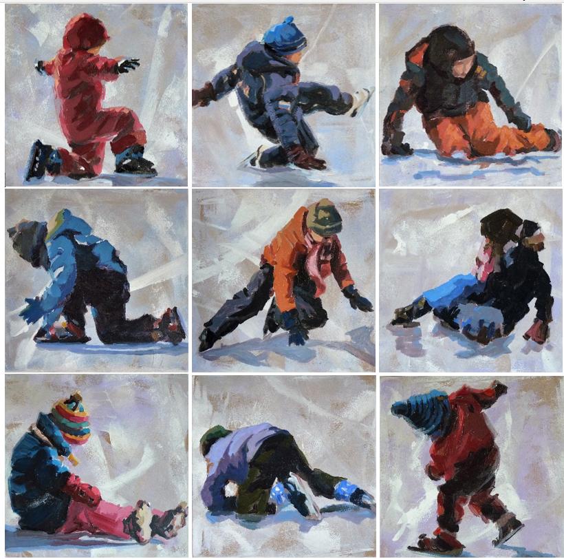 Tumbling (serie van 9 schilderijtjes)