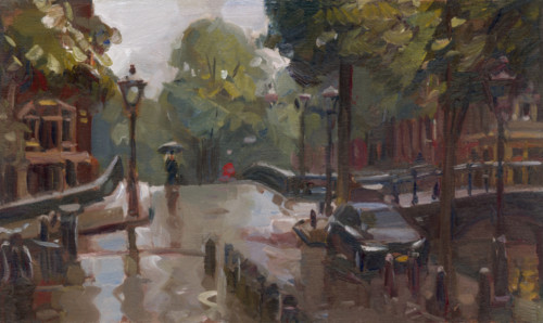 Amsterdam met regen