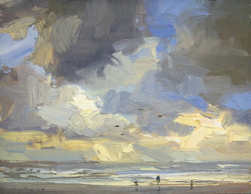 Seascape Morning, yellow Light and Clouds.