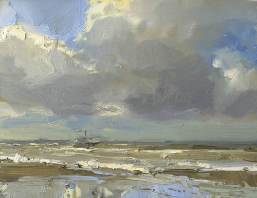 Seascape, Shrimp Boat and Stormy Day