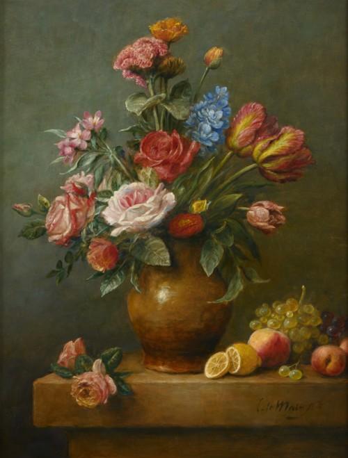 Bloemstilleven met rozen en tulpen in gele vaas
