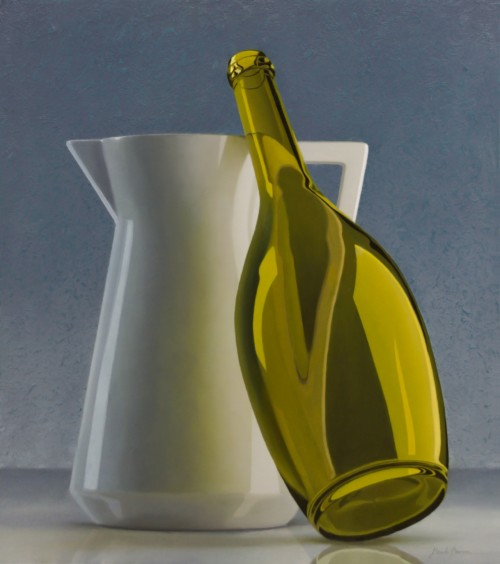 Composition with jug and wine bottle