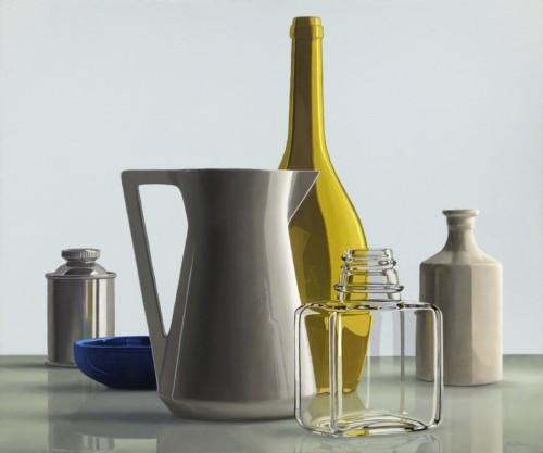Composition with paintersmedium bottle