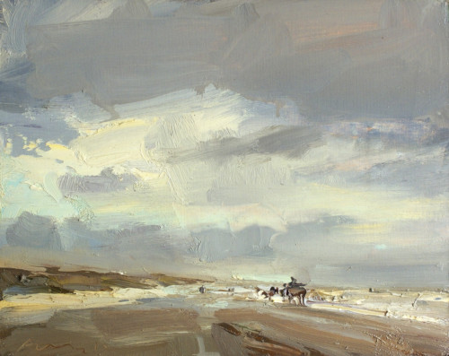 Seascape, Stormy Day and Horse Carriage