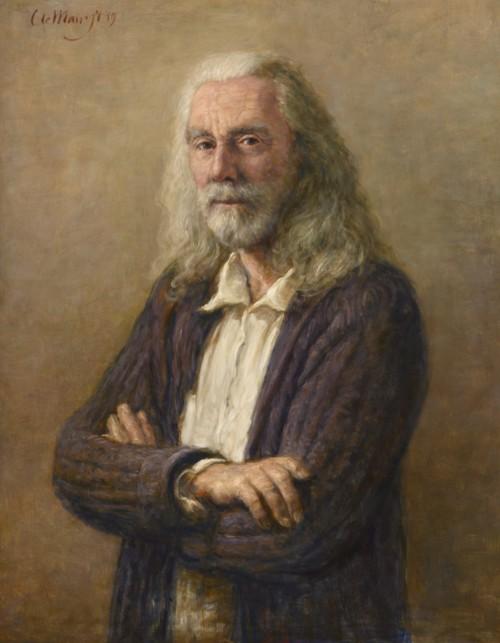 Zelfportret met paars vest