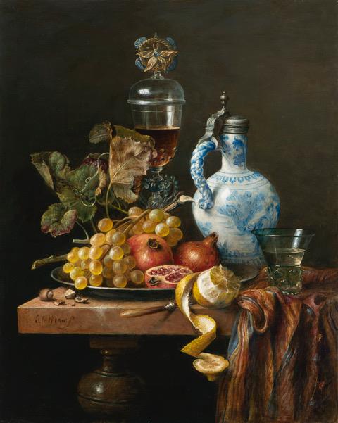 Stilleven met Delftse kruik, Venetiaans glas, druiven en granaatappels