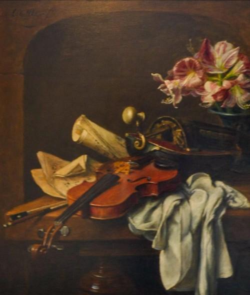 Viool en bloemen