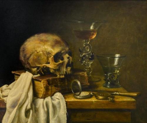 Schedel met boek, Venetiaans glas, roemer, mes en zakhorloge