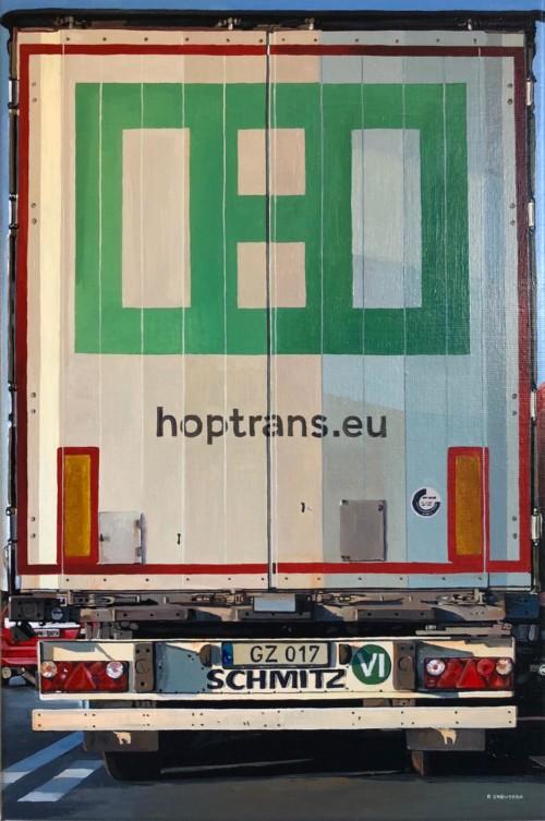 Vrachtwagen achterkant 'HOPTRANS'