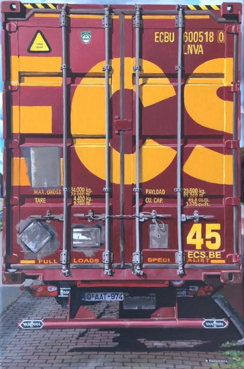 Vrachtwagen achterkant 'ECS'