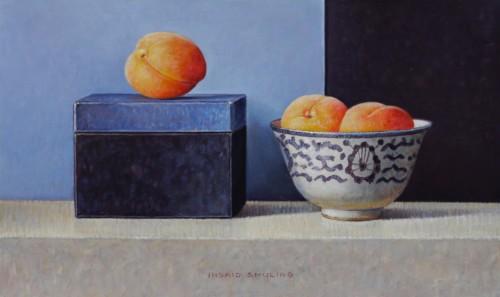 Abrikoosjes met blauw doosje