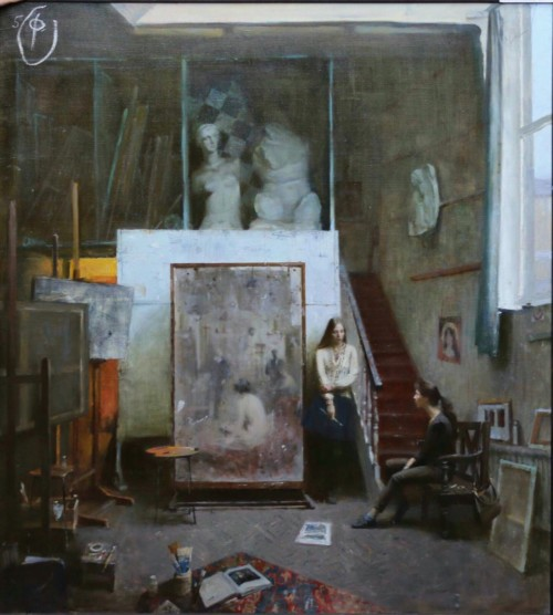 Studio with self-portrait