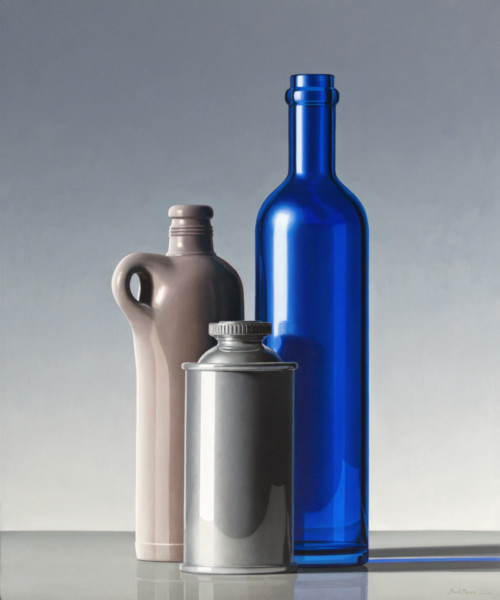 Composition with blue bottle