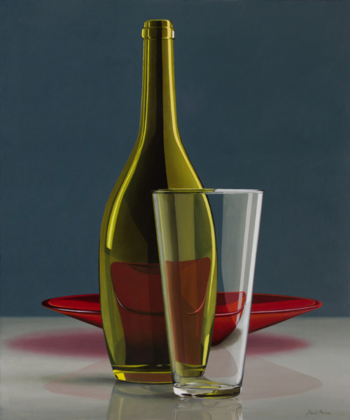 Composition with red bowl