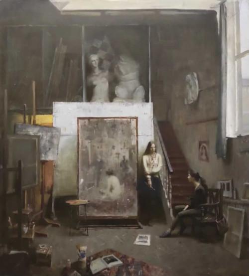 Studio with self-portrait