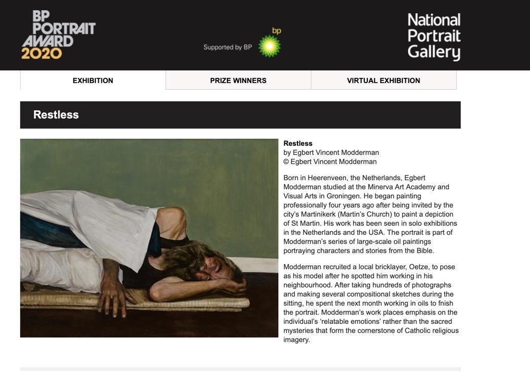 Egbert Modderman wint BP portrait Award for youngsters