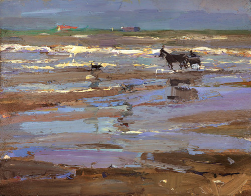Seascape, 'Horse Carriage in Tints of Purple'