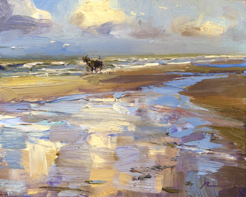 Seascape, 'Morning Cloud Reflections and Horse Carriage'