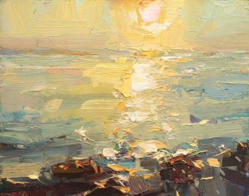 Seascape, 'Bright Sunset Ocean & Rocks'