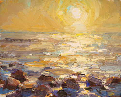 Seascape- Rocks and Yellow Sunrise