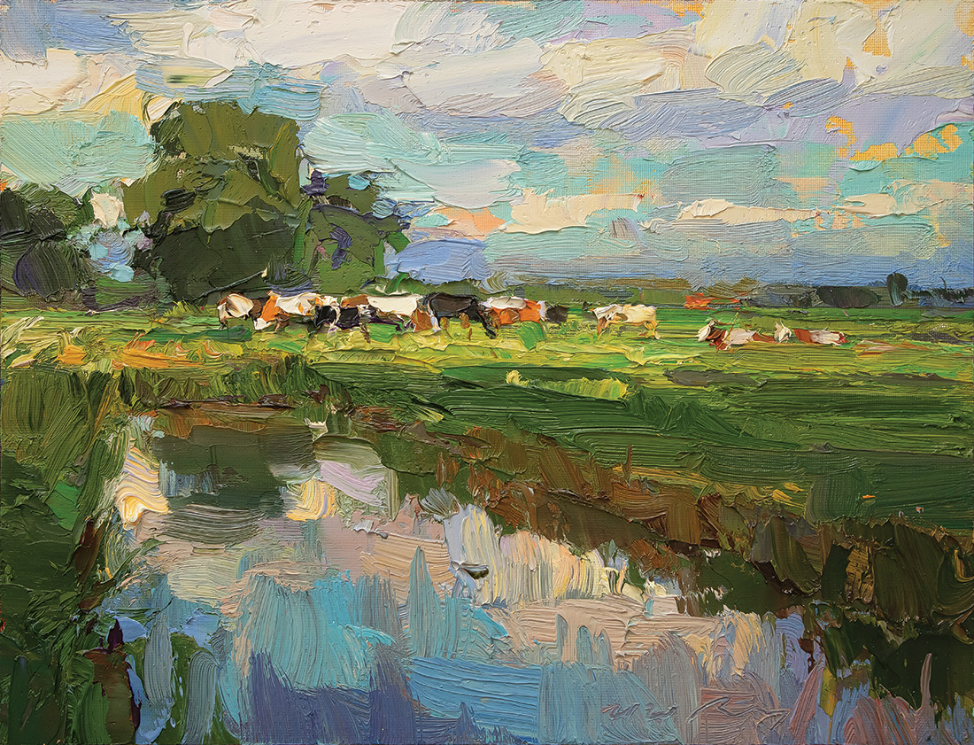 Landscape, Field in Evening, Light and Cows