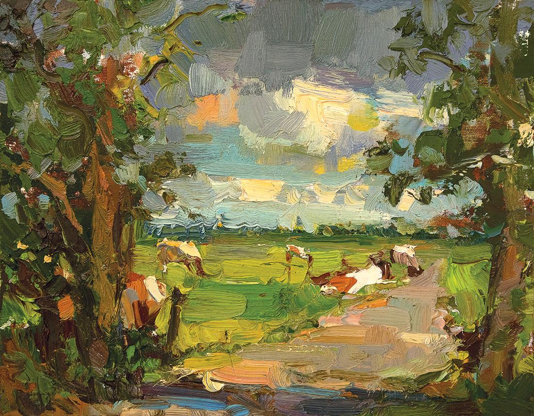 Landscape, Cows, Path, Trees