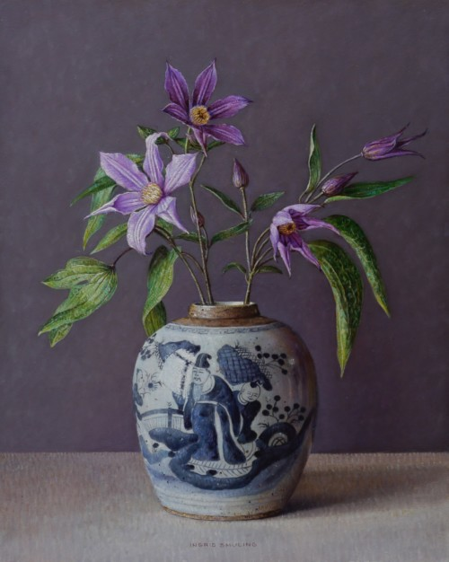 Clematis in Chinese pot