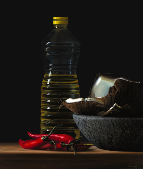 Fles olie met kokosnoot en rode pepers I