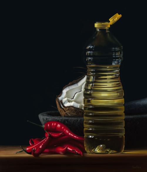 Fles Olie met Kokosnoot en Rode Pepers II
