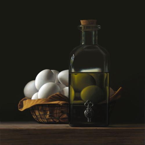 Fles olie met eieren