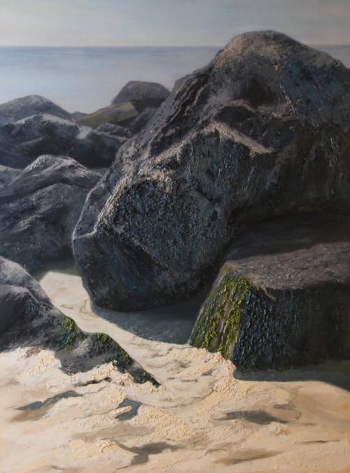 Basalt op het strand van Vlieland