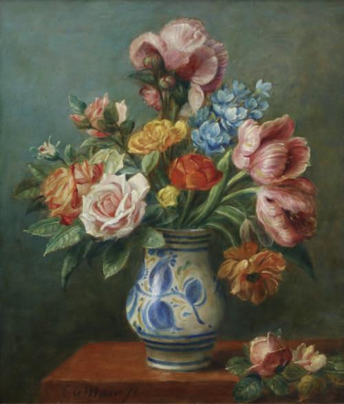 Bloemstilleven met rozen en tulpen in Salamancavaas