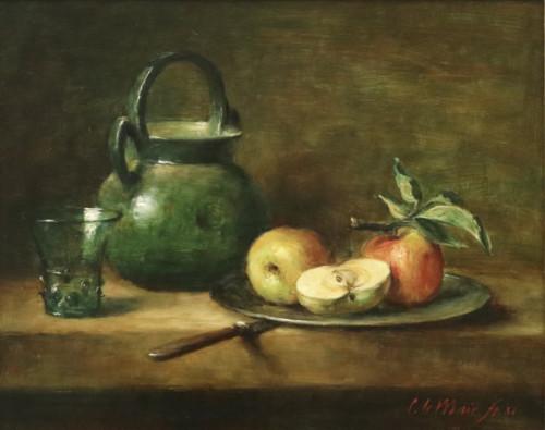 Boeren Stilleven met mes, appels op tinnen bord en kan