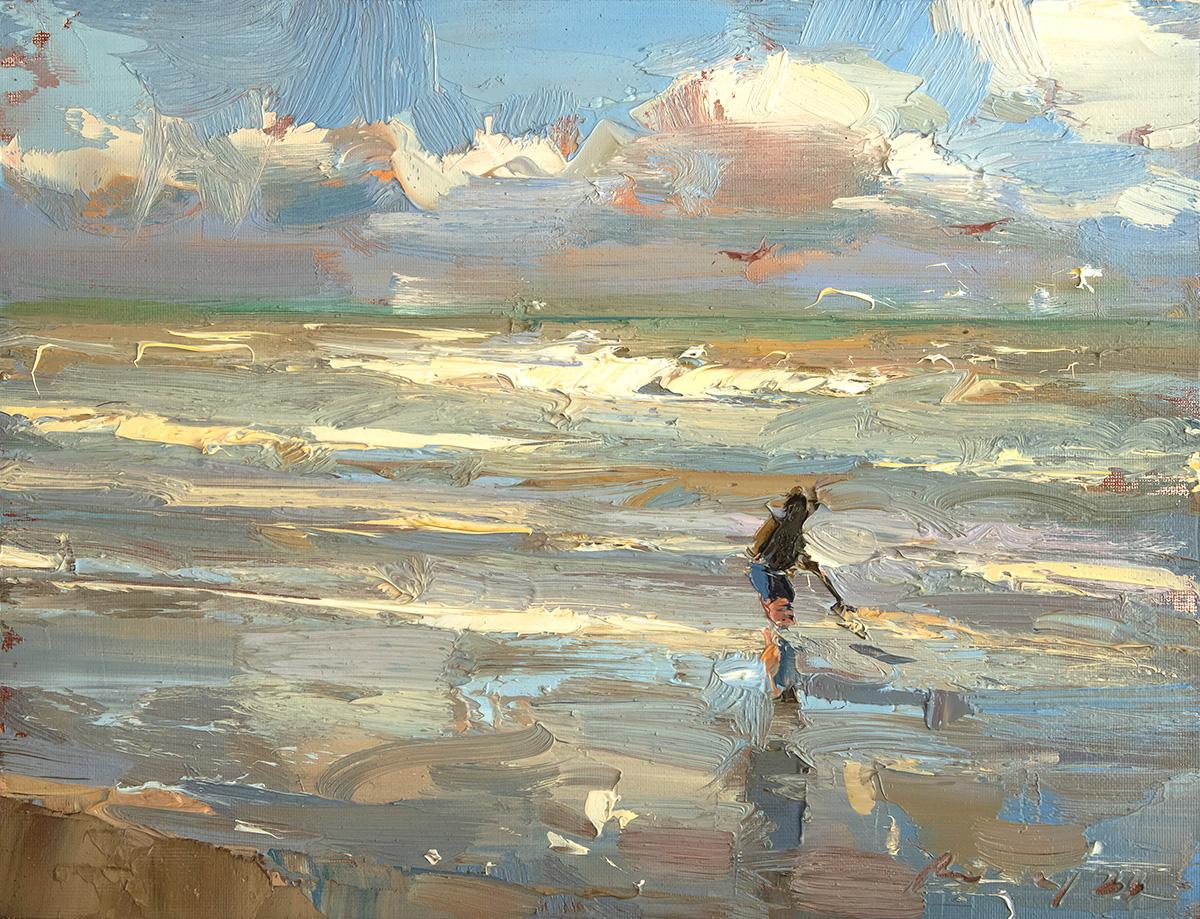 Seascape Boy in the Shoreline - Bright Sunny